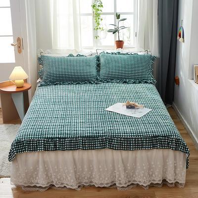 2020新款牛奶绒多功能床盖床垫 单床盖200cmx230cm 绿小格
