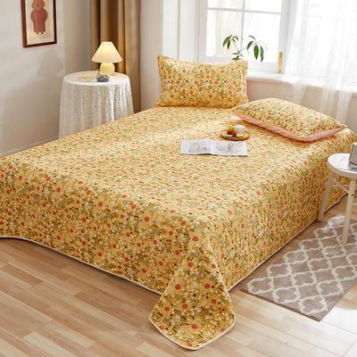 2020新款四季款天雪棉多功能床盖三件套 200cmx230cm 草莓派-黄