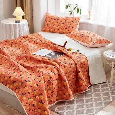 2020新款四季款天雪棉多功能床盖三件套 200cmx230cm 橙子