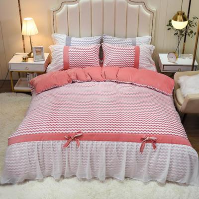 2020新款色织提花牛奶绒水晶绒仙女系列四件套—爱丽丝 1.8m床单款四件套 豆沙粉