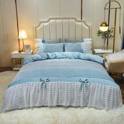2020新款色织提花牛奶绒水晶绒仙女系列四件套—爱丽丝 1.5m床单款四件套 蓝
