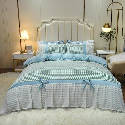 2020新款色织提花牛奶绒水晶绒仙女系列四件套—爱丽丝 1.8m床单款四件套 苹果绿