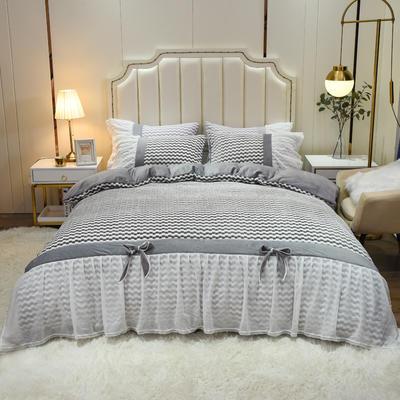 2020新款色织提花牛奶绒水晶绒仙女系列四件套—爱丽丝 1.8m床单款四件套 气质灰