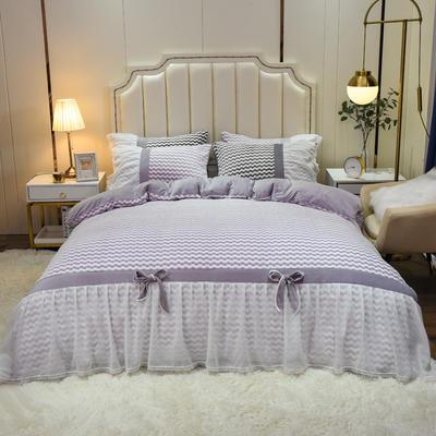 2020新款色织提花牛奶绒水晶绒仙女系列四件套—爱丽丝 1.8m床单款四件套 烟熏紫