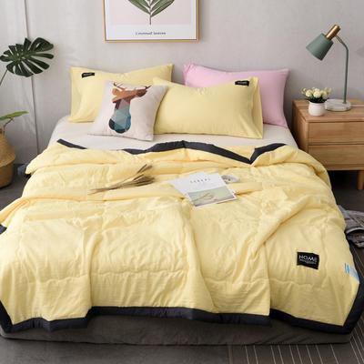 2019新款纯色水洗棉手包边款夏被 150x200cm 黄色
