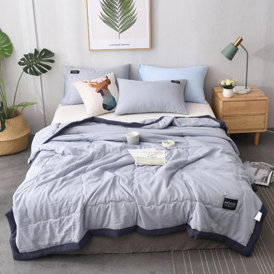 2019新款纯色水洗棉手包边款夏被 150x200cm 灰色