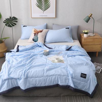 2019新款纯色水洗棉手包边款夏被 150x200cm 蓝色