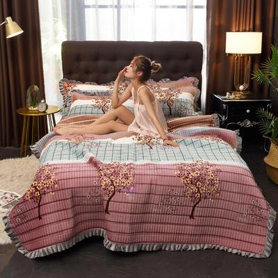2019新款水晶绒多功能盖毯、夹棉大炕盖 枕套/对 繁花四溢