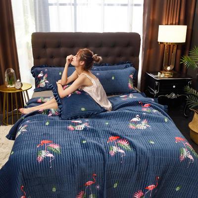 2019新款水晶绒多功能盖毯、夹棉大炕盖 枕套/对 爱情火鸟