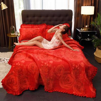 2019新款水晶绒多功能盖毯、夹棉大炕盖 枕套/对 盛世牡丹