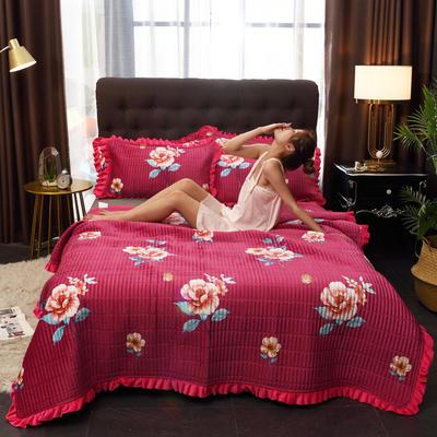 2019新款水晶绒多功能盖毯、夹棉大炕盖 200cmx230cm 甜蜜花语