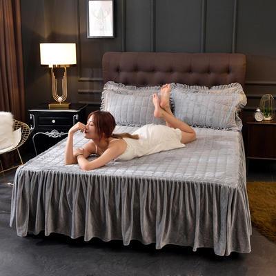 2019新款水晶绒纯色夹棉单品床裙 枕套/对 简灰