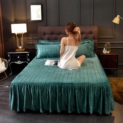 2019新款水晶绒纯色夹棉单品床裙 单品床裙:150cmx200cm 墨绿
