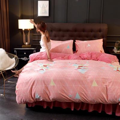 2019新款水晶绒印花夹棉床裙四件套、床笠四件套 1.5m床笠款四件套 七彩麋鹿