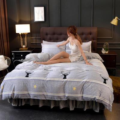 2019新款水晶绒印花夹棉床裙四件套、床笠四件套 1.5m床笠款四件套 森林麋鹿