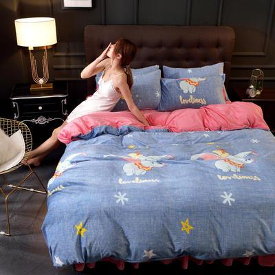 2019新款水晶绒印花夹棉床裙四件套、床笠四件套 1.5m床笠款四件套 小飞象
