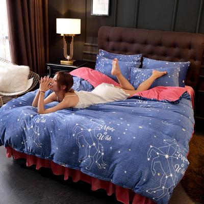 2019新款水晶绒印花夹棉床裙四件套、床笠四件套 1.5m床笠款四件套 星座物语