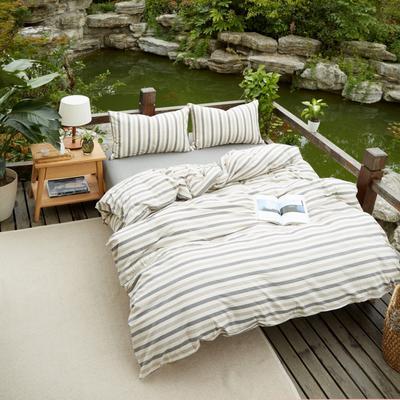 航航家居 水洗棉四件套 1.5米床笠款 3灰米条