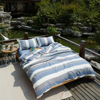 航航家居 水洗棉四件套 1.5米床笠款 5蓝灰白宽条