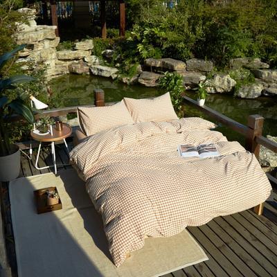 航航家居 水洗棉四件套 1.5米床笠款 咖小格