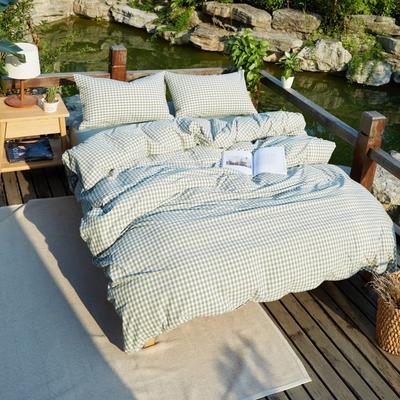 航航家居 水洗棉四件套 1.5米床笠款 绿小格