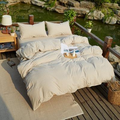 航航家居 水洗棉四件套 1.5米床笠款 米小格