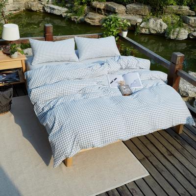 航航家居 水洗棉四件套 1.5米床笠款 水蓝小格