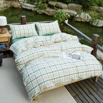 航航家居 水洗棉四件套 1.5米床笠款 英伦格   绿