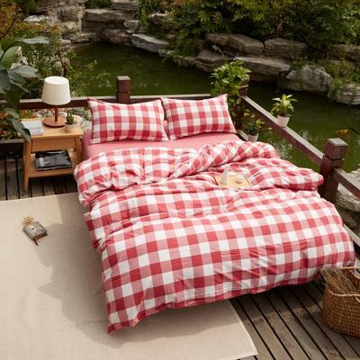 航航家居 水洗棉四件套 1.5米床笠款 1红中格