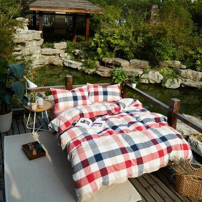 航航家居 水洗棉四件套 1.5米床笠款 3新红中格