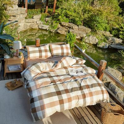 航航家居 水洗棉四件套 1.5米床笠款 4咖中格
