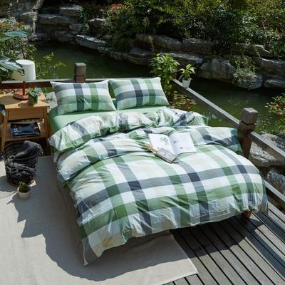 航航家居 水洗棉四件套 1.5米床笠款 5绿中格