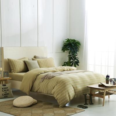 航航家居 针织棉四件套 1.5米床单款 黄色宽条3