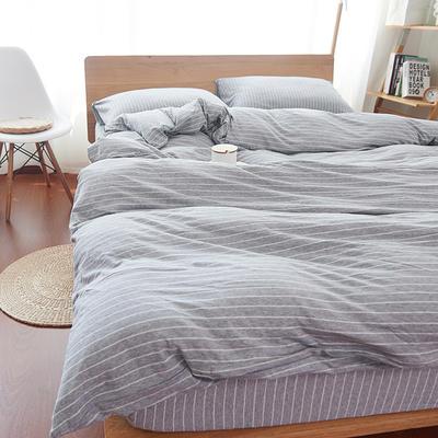 航航家居 针织棉四件套 1.5米床单款 灰白细条