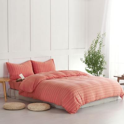 航航家居 针织棉四件套 1.5米床单款 橘宽条