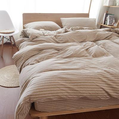 航航家居 针织棉四件套 1.5米床单款 咖白细条