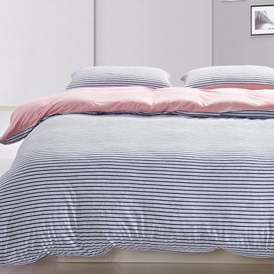 航航家居 针织棉四件套 1.5米床单款 蓝灰细条