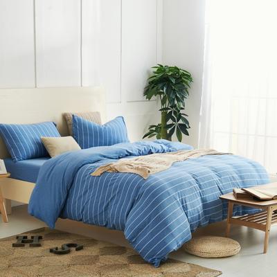 航航家居 针织棉四件套 1.5米床单款 蓝宽条