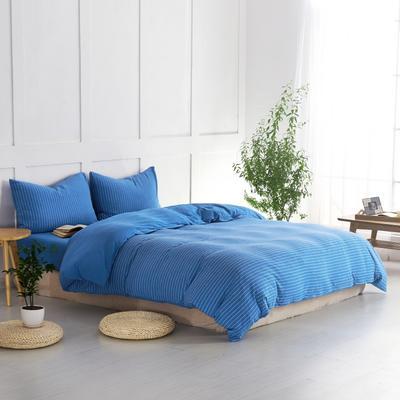 航航家居 针织棉四件套 1.5米床单款 亮蓝细条