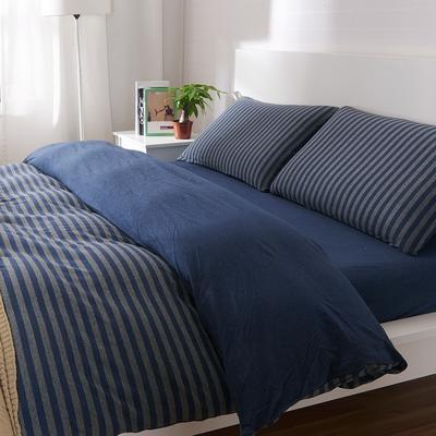 航航家居 针织棉四件套 1.5米床单款 深蓝灰中条