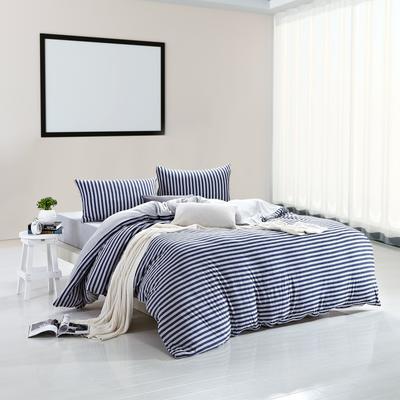 航航家居 针织棉四件套 1.5米床单款 天蓝中条