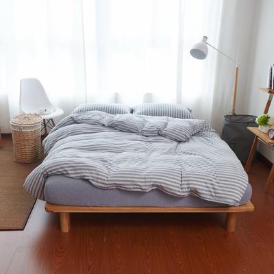 航航家居 针织棉四件套 1.5米床单款 新蓝灰