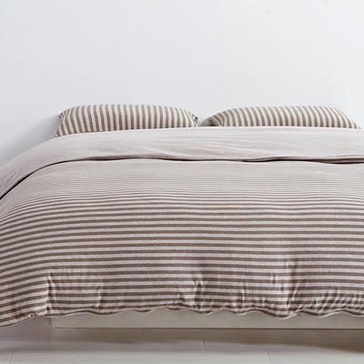 航航家居 针织棉四件套 1.5米床单款 中咖中条