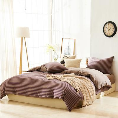 航航家居 针织棉四件套 1.5米床单款 紫咖