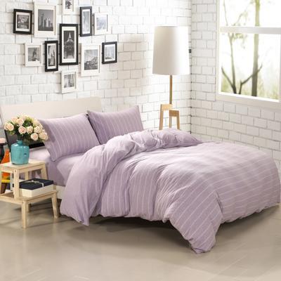 航航家居 针织棉四件套 1.5米床单款 紫宽条