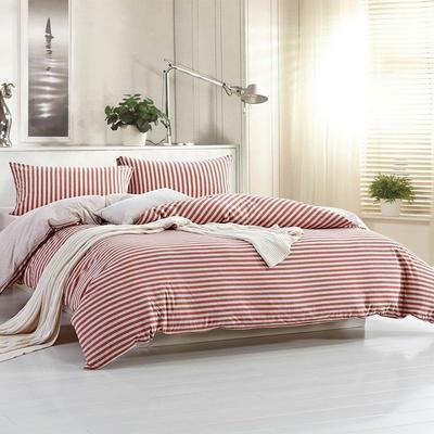 航航家居 针织棉四件套 1.5米床单款 棕红中条
