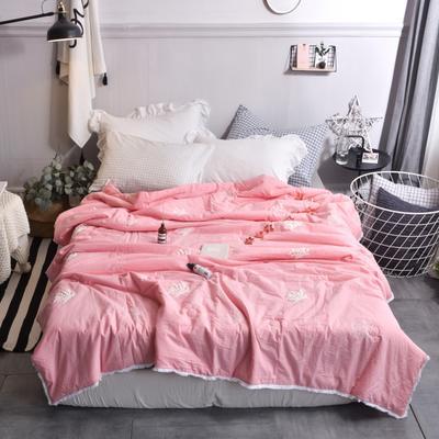 航航家居 毛巾绣色织水洗棉夏被 150x200cm 珊瑚花粉红