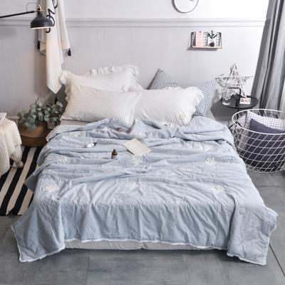 航航家居 毛巾绣色织水洗棉夏被 150x200cm 珊瑚花浅蓝