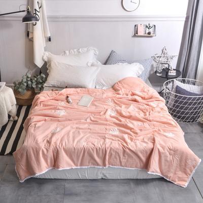 航航家居 毛巾绣色织水洗棉夏被 150x200cm 珊瑚花玉色