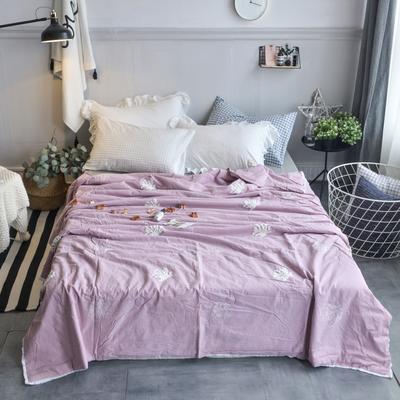 航航家居 毛巾绣色织水洗棉夏被 150x200cm 珊瑚花紫色